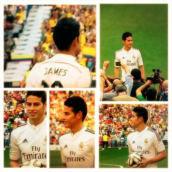 El Bernabéu se rinde ante los pies y el sabor a café de James Rodriguez #JamesMania #BienvenidoJames #JamesEsReal http://t.co/BdcwyQWlzd