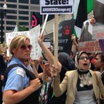 Pro- #Palestinian protestors gather across from the #Israel Solidarity rally in #chicago. http://t.co/IT2KkmjojN