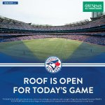RT @BlueJays: The @Rogers_Centre roof will be OPEN for tonights game. http://t.co/oV7CIAXDWa