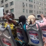 International students in our #SummerIntensive program tour #NYC atop a double decker bus. #CUNYJsummer #MakeNews http://t.co/Q0byPVFuLw
