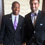 Tyler Lockett and Jake Waters sporting their new Big 12 logo pins! Oh, and how about Jakes bow tie? #Big12MediaDays http://t.co/mWCeQpVQhh