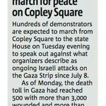 #Boston4Gaza protest TONIGHT @5:30pm #Copley. Well march in solidarity & to end the attacks. Via @lizaveta9 #Boston http://t.co/vp9p5QbnyG