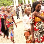 Girls from Chibok arriving State House today for a meeting with President Jonathan today. #Evilwillnotprevail http://t.co/Yj8l9mEESi