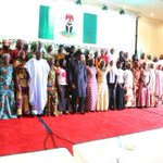 President Jonathan & Senator David Mark with Chibok girls at the Presidential Villa today #Evilwillnotprevail http://t.co/T5tjeSLDCF