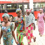 Escaped Chibok girls arrive for meeting with President Jonathan at State House today #Evilwillnotprevail http://t.co/iw7akRQ5P3