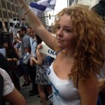 "Julia Gartsman, 19, waved a flag on the pro-Israeli.side. ""Theres always going to be an ongoing war,"" she said. http://t.co/cscaFAf9tA"