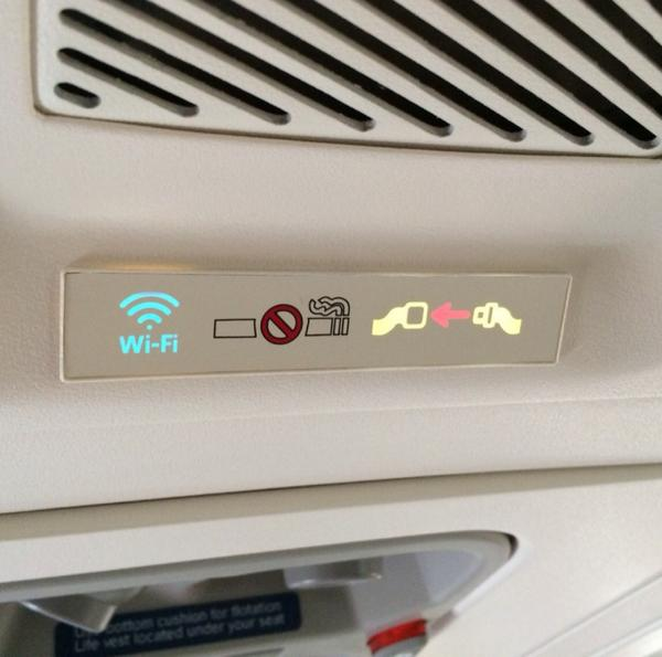 First time seeing an actual #WiFi light on the overhead display! @delta http://t.co/DxNi6H6IO9