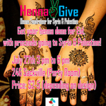 RT @Youth2Give: Details for Henna2Give! A great opportunity to get your henna done while supporting both Syria & Palestine! http://t.co/a1TnPMthSF