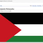RT @Saudiwoman: LOVE THIS! Someone changed the entry for #Netanyahu on Wikipedia to the #FreePalestine flag. http://t.co/MwtNO3stRb