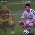 RT @FootballJester: James Rodriguez - What a difference 18 days make!! http://t.co/Fu210xc5pL