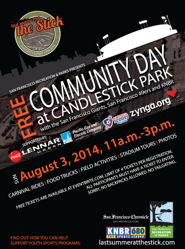 Say goodbye to our beloved Candlestick Park at our FREE Community Day on August 3rd! Presale tickets available. http://t.co/10OWH30G8C