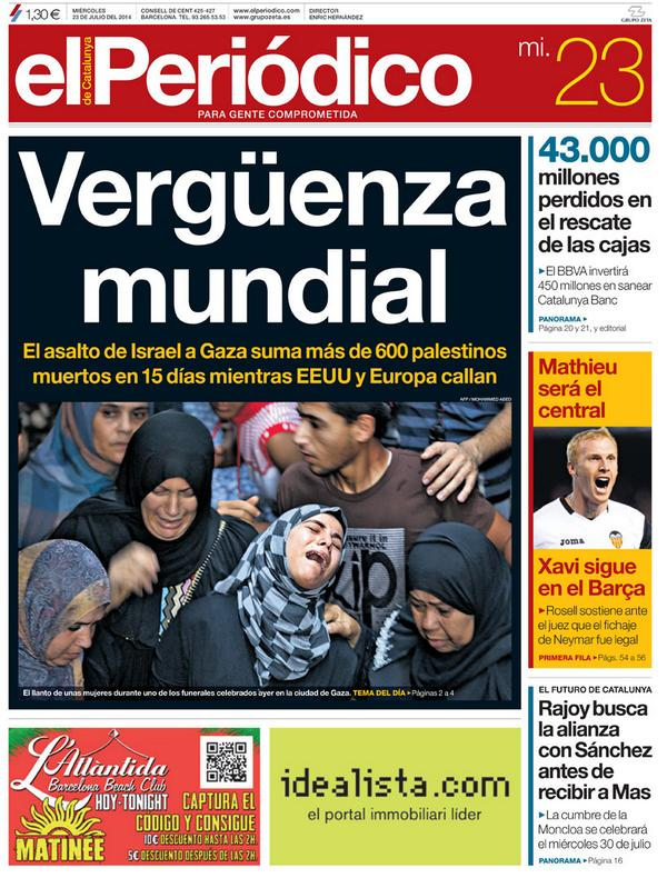 'Vergüenza mundial', en la portada de EL PERIÓDICO DE CATALUNYA http://t.co/LtXNBiJ04Z #portadaEPC http://t.co/Dy0AuGZ2kP