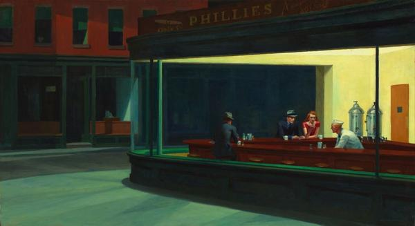 """Happy birthday to Edward Hopper, who once said Nighthawks was """"one of the very best things I have painted."""" http://t.co/eBafcWe7wH"""
