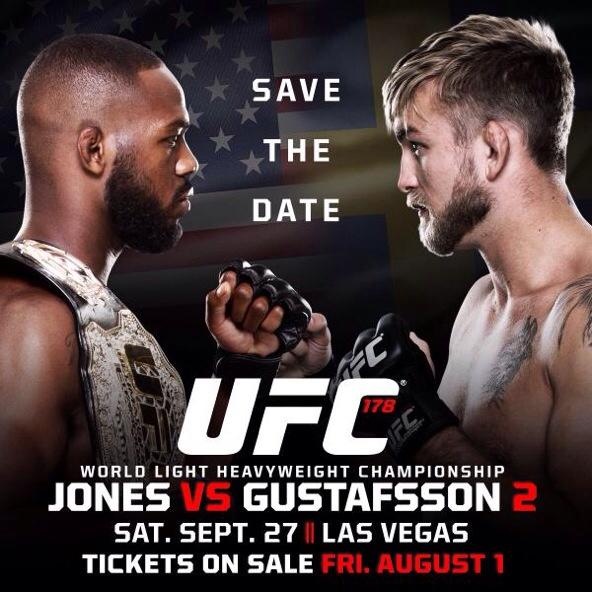 JUST ANNOUNCED: #UFC178. Sept 27th. @MGMGrand Garden Arena!  FC TIX on sale: July 30th  RT If we'll see you there! http://t.co/Ow11eHOjmY