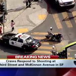 #BREAKING: Woman hit by stray bullet in #SanFrancisco. Police on scene at Third street and McKinnon avenue. http://t.co/j5Tx5Dae7j