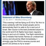 RT @CNBCnow: Mike Bloomberg flying to Tel Aviv on El Al to demonstrate Ben Gurion airport is safe; urges FAA to reverse course: http://t.co/wQLvwtp7nd