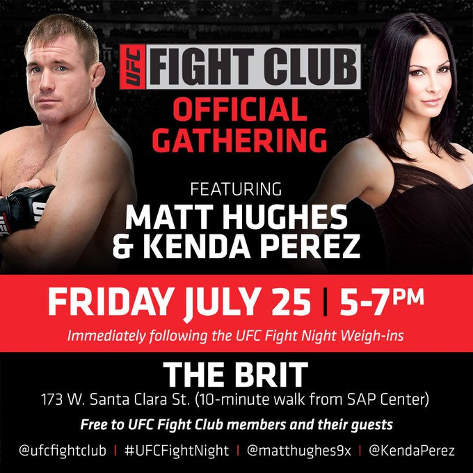 FC! Friday after #UFCFightNight San Jose weigh-ins, plan on heading to The Brit w/ @matthughes9x & @kendaperez! http://t.co/5zAENecMzz