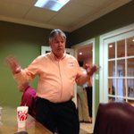 Its a good thing GOP state schools supt. candidate Mike Buck has endless energy. Long night ahead. #wabenews http://t.co/p6lDKc3hmV