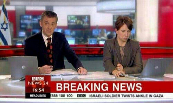 """""""Breaking: Israeli soldier twists ankle."""" This is newsworthy than 100s of #Palestinian lives lost. @BBCWorld #Shame http://t.co/YORKUsbwr6"""