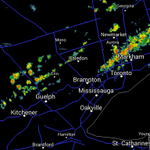 RT @gtaweather1: Thunderstorms w/ heavy rain over parts of north GTA are tracking south & new storms are developing northwest of GTA http://t.co/ByVZ4THq8T