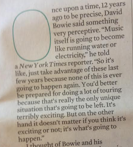 Bowie predicted what would happen to the music industry way back (2002, from Sunday's Obs ) http://t.co/k8JyrHpLCa