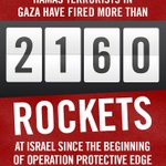 RT @IDFSpokesperson: Hamas has fired more than 2160 rockets at Israel since July 8. Thats more than 1 rocket every 10 minutes for 15 days http://t.co/p97uK55HAn