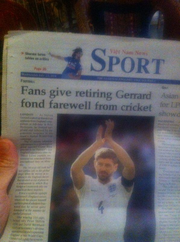 A Vietnamese newspaper thinks Liverpools Steven Gerrard quit the England cricket team [Picture]