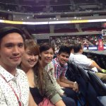 UAAP today with #miefer and #chuzy. @kieferravena15 @suzy899. boys from Ateneo and girls from DLSU!Double win today. http://t.co/lV2pX90yMl