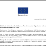 Joints statement issued by EU, Noway & Switzerland on restrictions on #NGO & freedom of expression #lka #srilanka http://t.co/SV3j6q3xAP