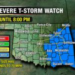 "Severe Thunderstorm WATCH for eastern Oklahoma until 8pm. 80 mph destructive winds & 2"" hail possible. #okwx @NEWS9 http://t.co/XZHs8Aucfn"