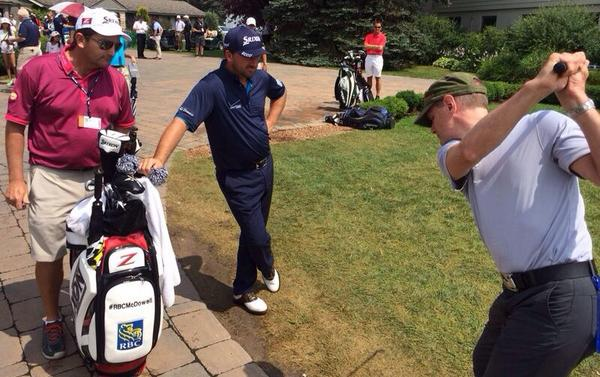 Retweet to enter the draw to play 18holes with me, maybe I'll give u a lesson just like this fan today #RBCMcDowell http://t.co/EKn8OSmKy1