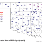 Gust over 60 mph reported. The Mesonet reports: 49 mph in Nowata, and 47 mph gusts in Vinita and Pryor http://t.co/tFaWUOHbGn