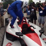 WR Reggie Wayne shows up to camp in Indy car http://t.co/wJZwcrXpn2
