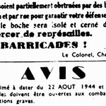 Ordre est affiché de dresser des barricades, renouvelé le 22 par Rol-Tanguy [19h30 – 21 août 1944] #ParisLibéré http://t.co/LNxDeeqWdT