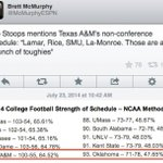 ????☕️ RT @BrandonLeone: Someone let Bob Stoops know that OU has the #93 strength of schedule and A&M has #5. http://t.co/gVHP9w06XG