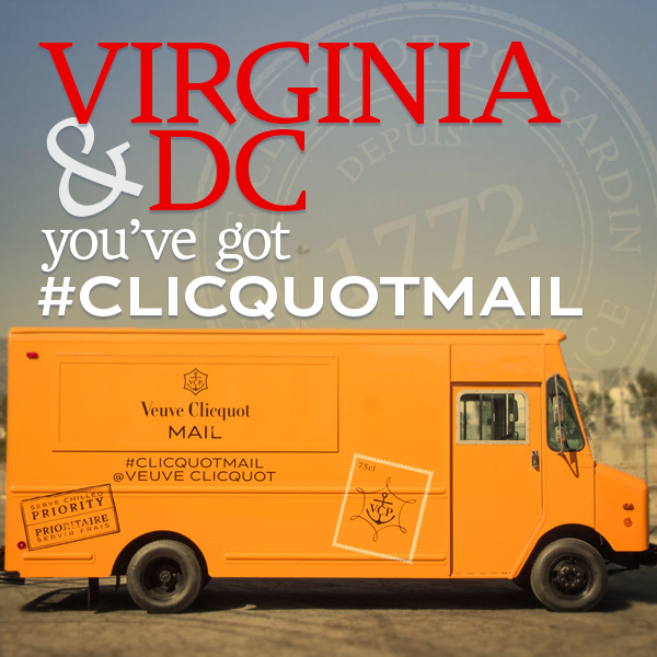 VA & DC: You've got #ClicquotMail! Follow us to find out when our Clicquot-hued mail truck makes a delivery near you http://t.co/trOwIwGghg