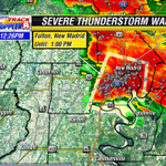 Severe TStorm Warning for New Madrid County till 1pm. Wind gusts to 60mph and quarter size hail possible. #mowx http://t.co/eVRi8Kqmdk