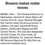 RT @Browns: Browns have also made additional roster moves. http://t.co/aVFuRoAXl7