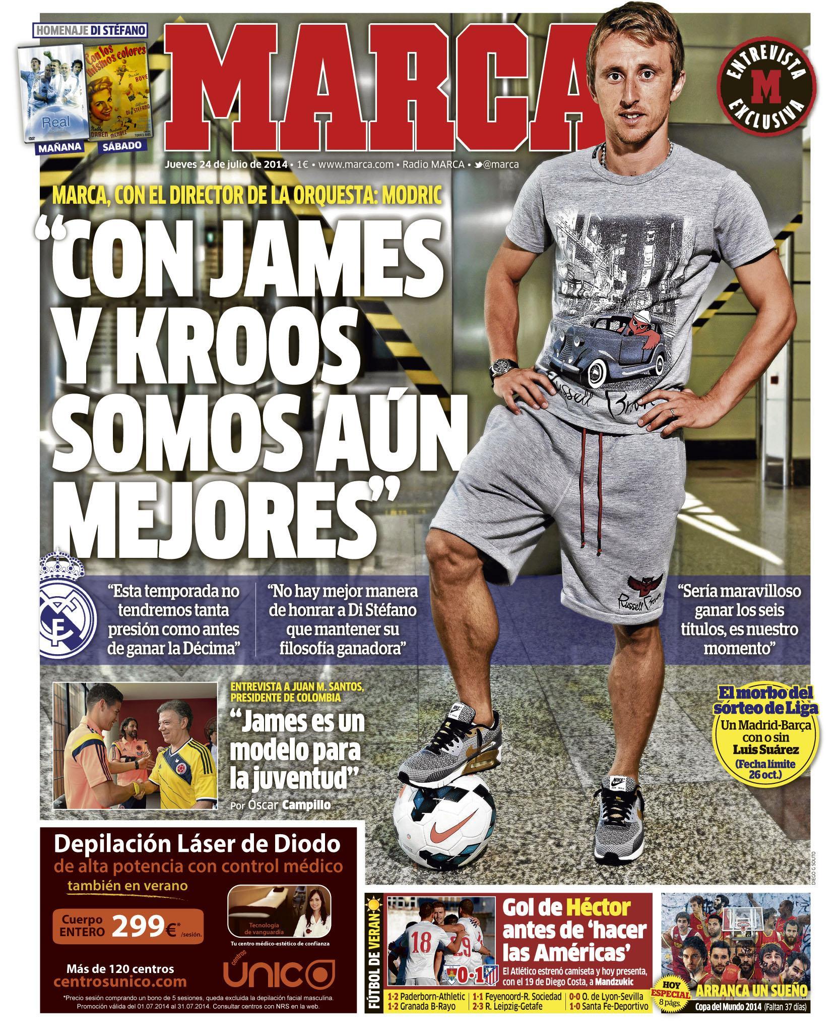 """#LaPortada """"Con James y Kroos somos aún mejores"""" http://t.co/XbhM1zfZWQ"""