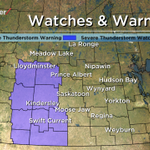 RT @PQuinlanGlobal: Severe Thunderstorm Watch for the Battlefords, #yll, Kindersley, Rosetown, #CitySC, Biggar & SW #SK areas. #skstorm http://t.co/b8EFDx4ueM