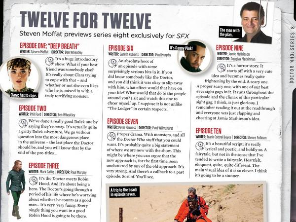 Twelve for Twelve - Steven Moffat previews every episode of Doctor Who Series 8 for SFX magazine: http://t.co/FlB0hdgU4k