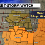 Severe T-storm watch has been trimmed. Watch does NOT include Tulsa. In effect until 8pm for areas in orange. #OkWx http://t.co/YdwARTpQU9