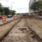 With old brick pavers removed, vintage streetcar tracks emerge on Huron west of Main St. #AnnArbor http://t.co/5N1tL3TL6r