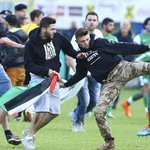 RT @FBAwayDays: Maccabi Haifa players are assaulted by an Anti-Israel mob during a friendly against Lille tonight. http://t.co/PsGduc9zN2