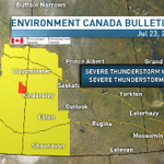 Severe Thunderstorm Capable Of Producing Very Strong Wind Gusts And Quarter To Toonie Size Hail. #SKSTORM http://t.co/7iqfXFTqXX