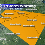 RT @6abcWeather: Severe Thunderstorm Warning till 9:15pm for the area in orange. Damaging winds, hail, and vivid lightning. http://t.co/dL6mMyzEr0
