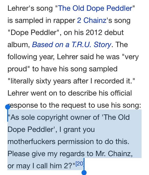 My favourite thing of the day - Tom Lehrer's response when asked if rapper 2 Chainz could sample one of his songs. http://t.co/xmD26fyqom