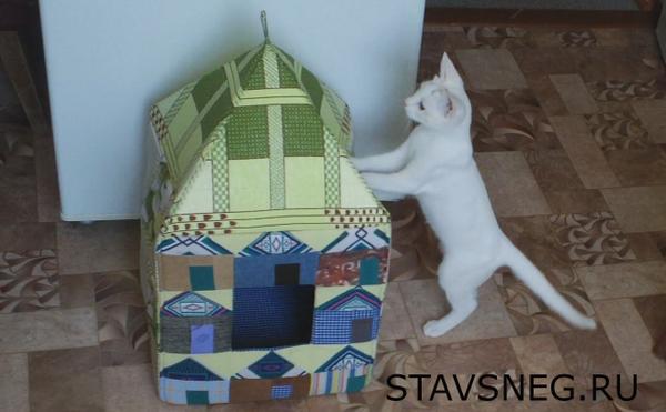 Дом для кошки из ткани