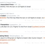 I could be mistaken, but I believe the FAA just lifted the ban on flights to Israel. http://t.co/eSERuvQVG3