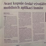 RT @PetrMazanec: #Inmite was sold to #avast and newly focuses on security apps only. I thought it is hoax until I read it in newspaper http://t.co/LBxyKHrV5R